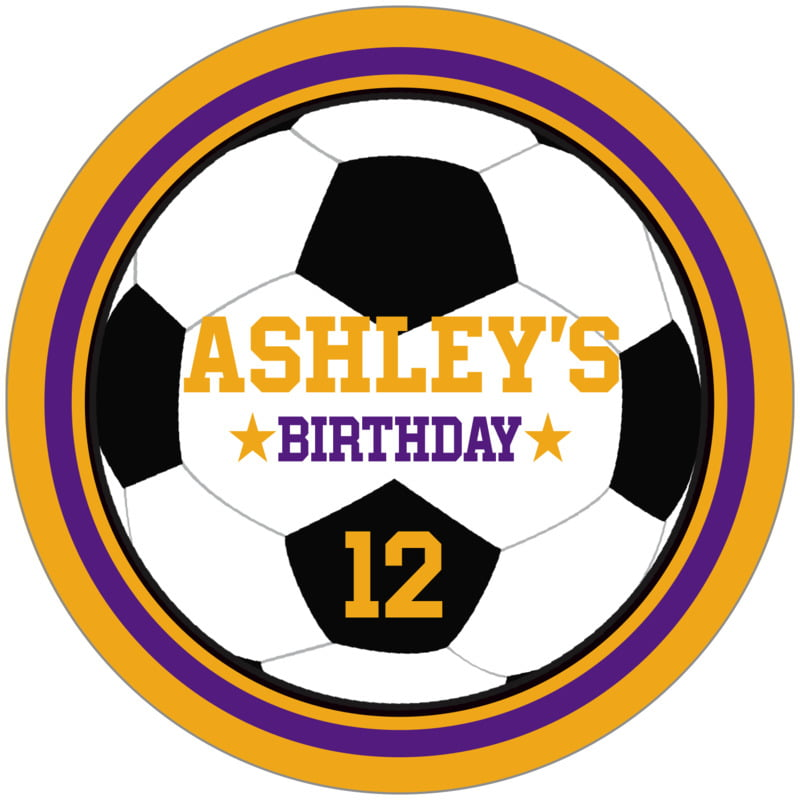 circle food/craft labels - purple & gold - soccer (set of 12)