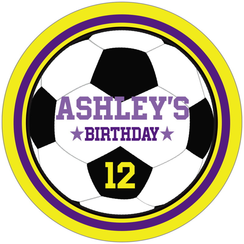 circle food/craft labels - purple & yellow - soccer (set of 12)