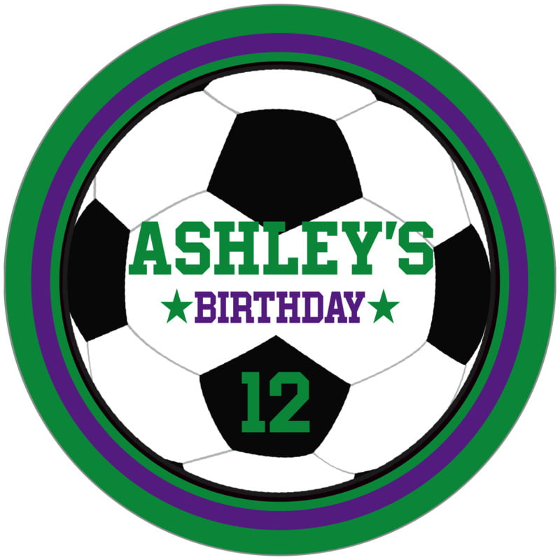 circle food/craft labels - purple & green - soccer (set of 12)