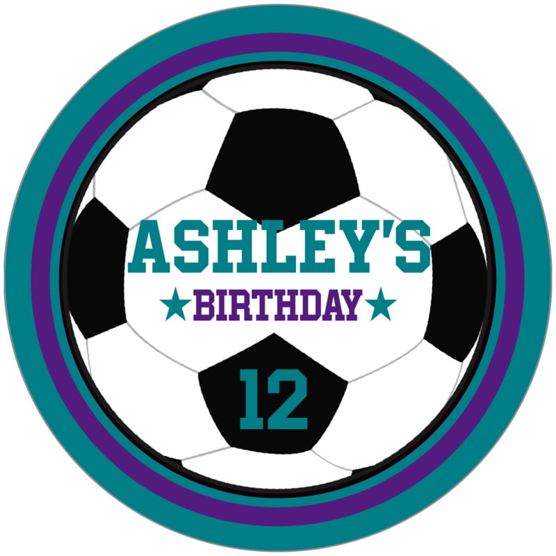 circle food/craft labels - purple & teal - soccer (set of 12)