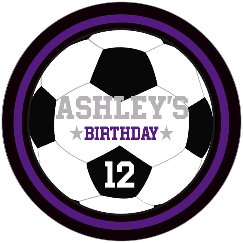 circle food/craft labels - purple & black - soccer (set of 12)