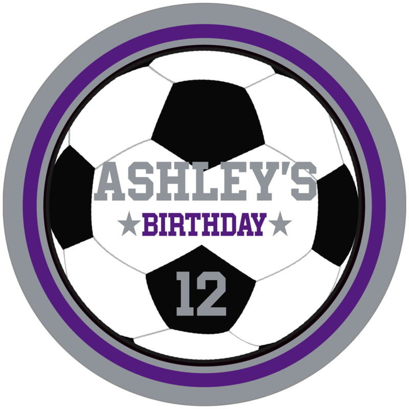 circle food/craft labels - purple & silver - soccer (set of 12)