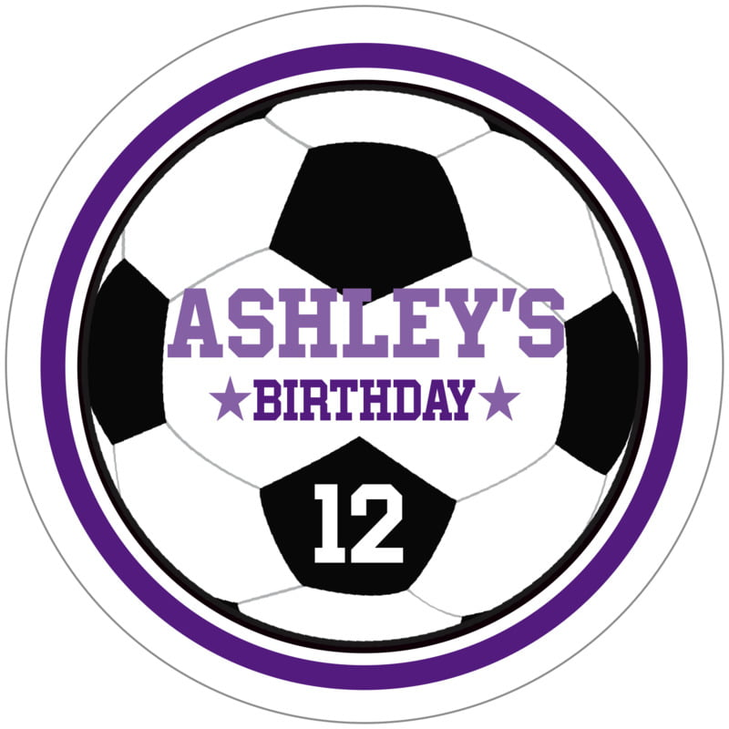 circle food/craft labels - purple & white - soccer (set of 12)