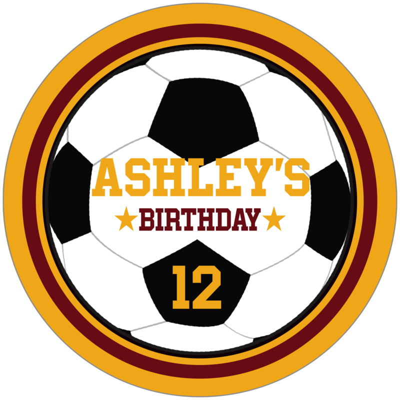 circle food/craft labels - maroon & gold - soccer (set of 12)