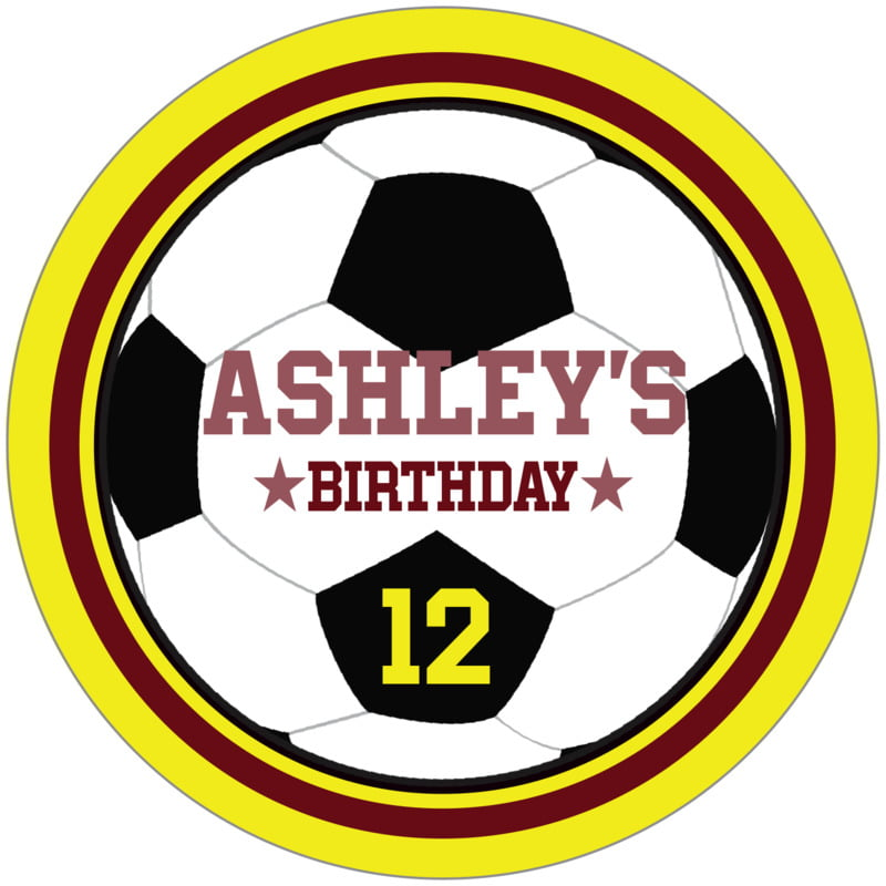 circle food/craft labels - maroon & yellow - soccer (set of 12)