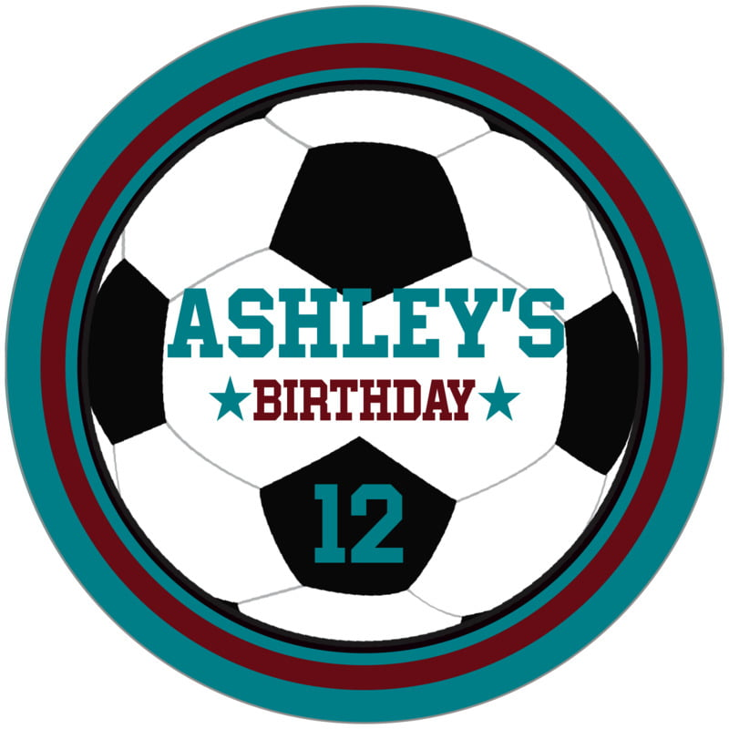 circle food/craft labels - maroon & teal - soccer (set of 12)