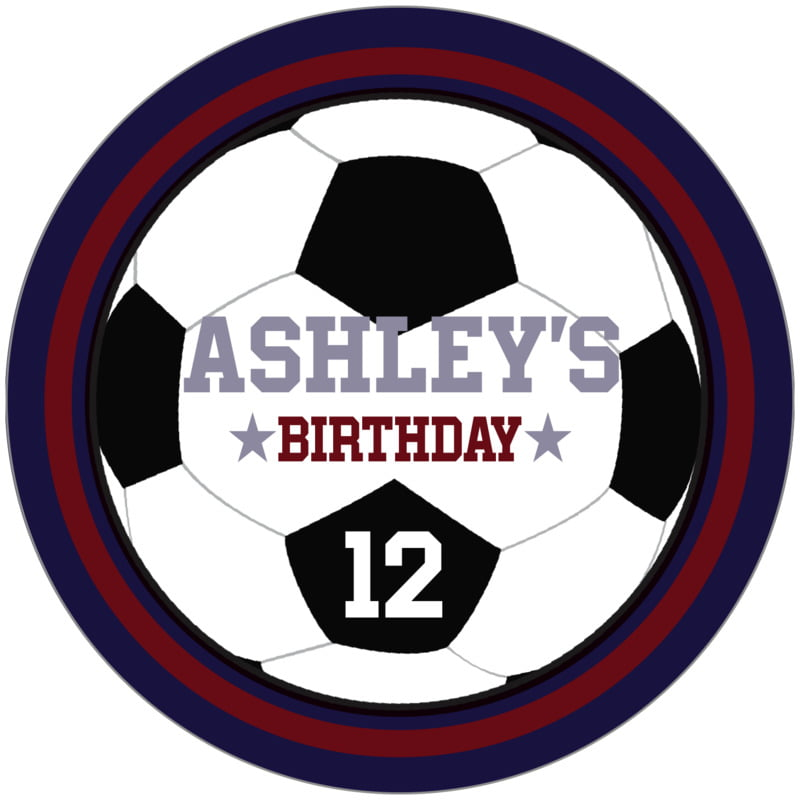 circle food/craft labels - maroon & navy - soccer (set of 12)