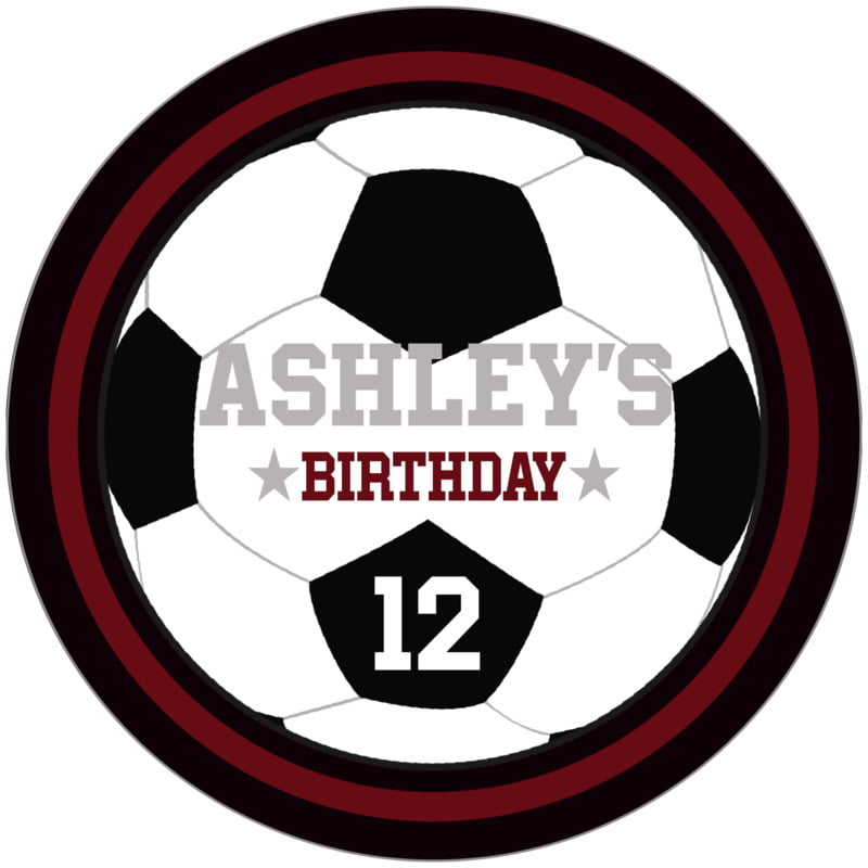 circle food/craft labels - maroon & black - soccer (set of 12)