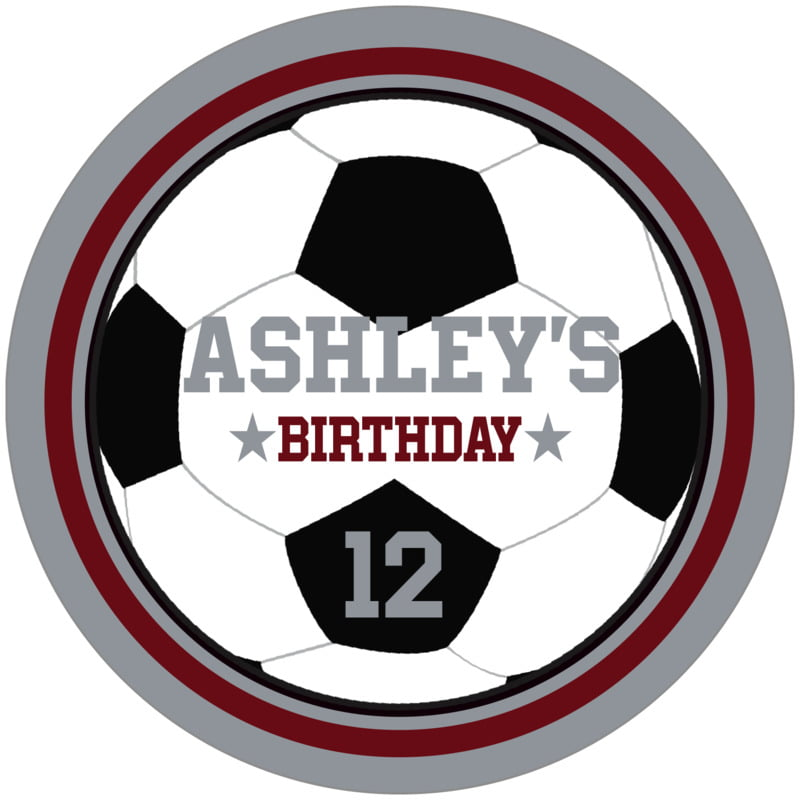 circle food/craft labels - maroon & silver - soccer (set of 12)