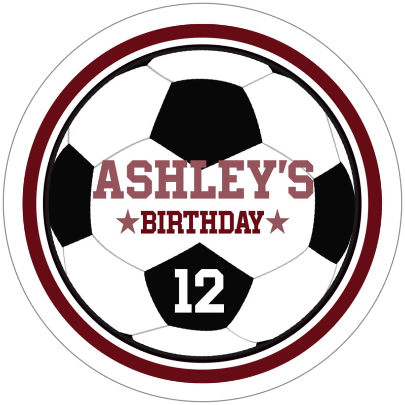 circle food/craft labels - maroon & white - soccer (set of 12)