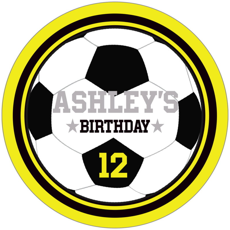 circle food/craft labels - black & yellow - soccer (set of 12)