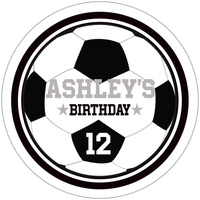 circle food/craft labels - black & white - soccer (set of 12)