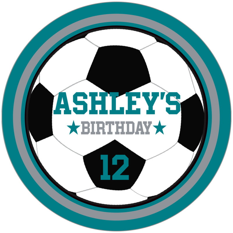 circle food/craft labels - silver & teal - soccer (set of 12)
