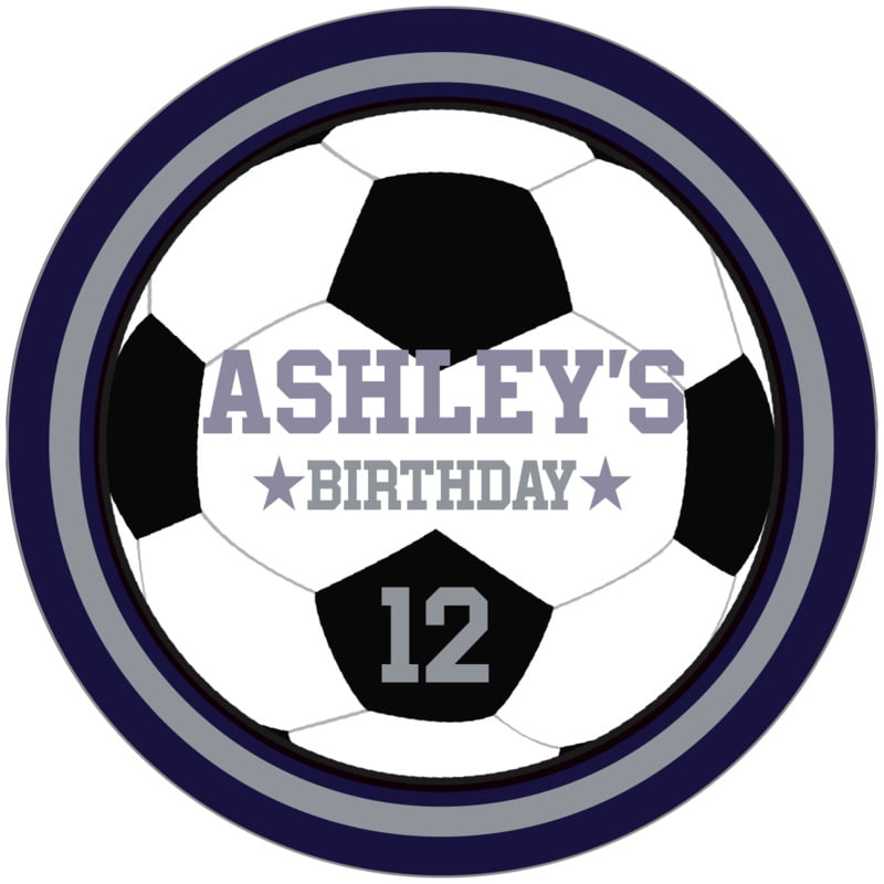 circle food/craft labels - silver & navy - soccer (set of 12)