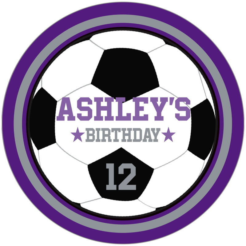 circle food/craft labels - silver & purple - soccer (set of 12)