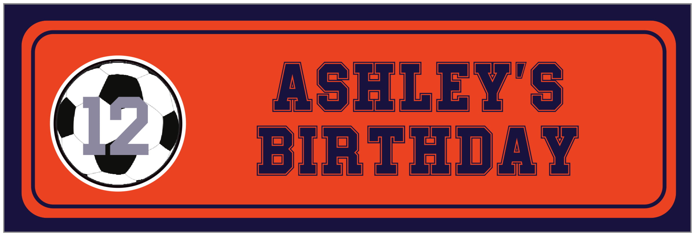 wide food/craft labels - orange & navy - soccer (set of 14)