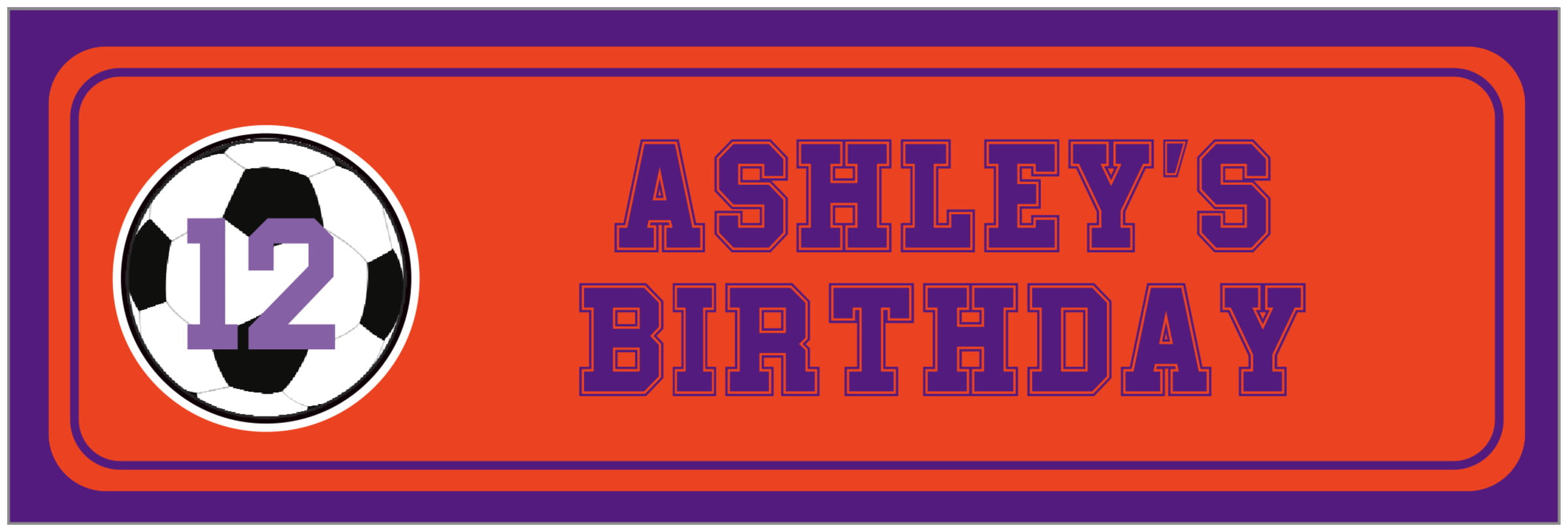 wide food/craft labels - orange & purple - soccer (set of 14)