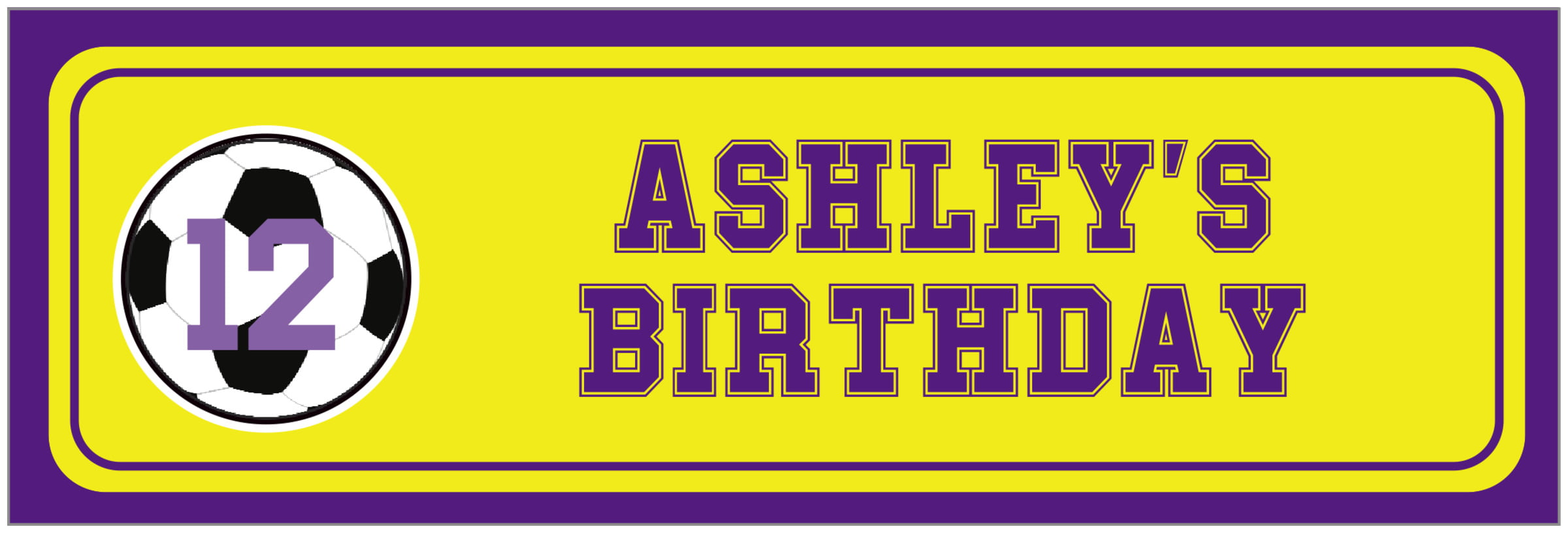wide food/craft labels - yellow & purple - soccer (set of 14)