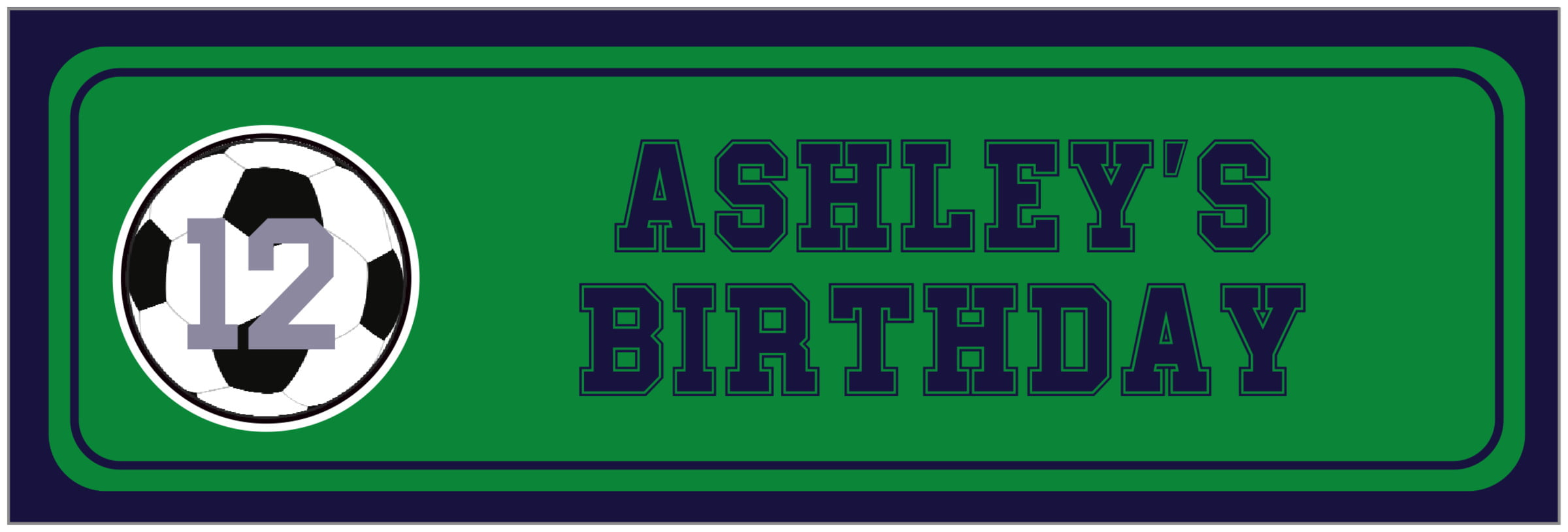 wide food/craft labels - green & navy - soccer (set of 14)