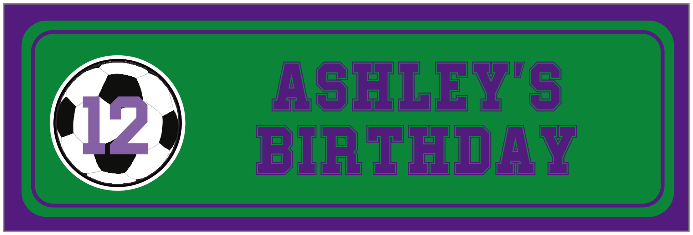 wide food/craft labels - green & purple - soccer (set of 14)