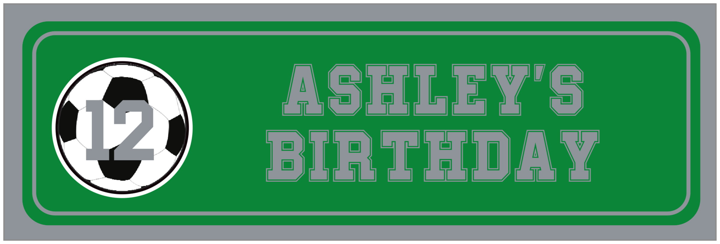 wide food/craft labels - green & silver - soccer (set of 14)
