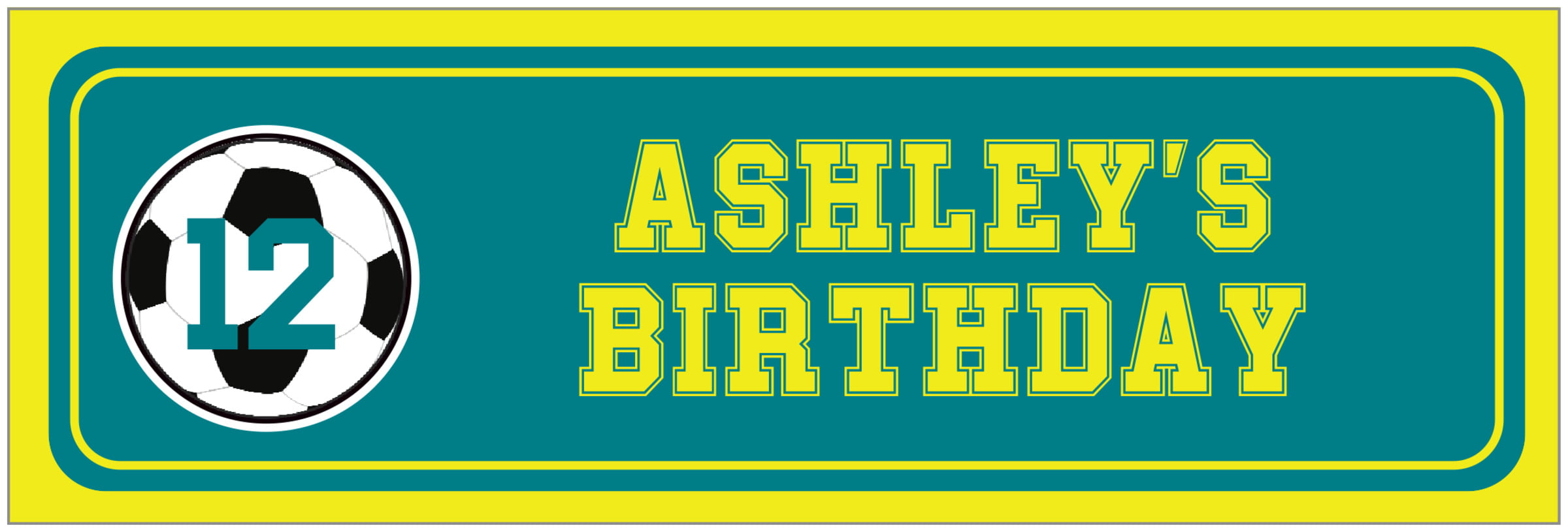 wide food/craft labels - teal & yellow - soccer (set of 14)