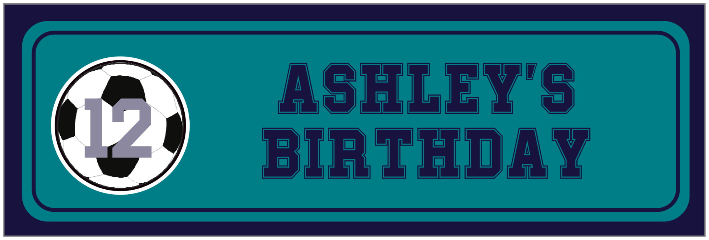 wide food/craft labels - teal & navy - soccer (set of 14)