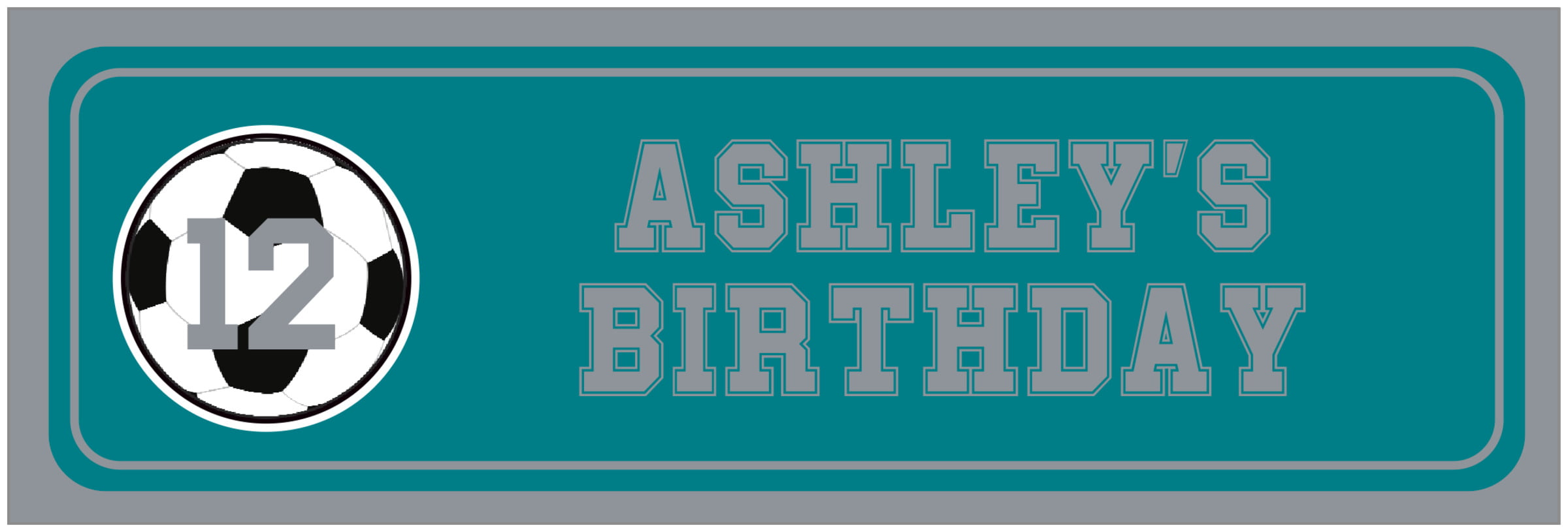 wide food/craft labels - teal & silver - soccer (set of 14)