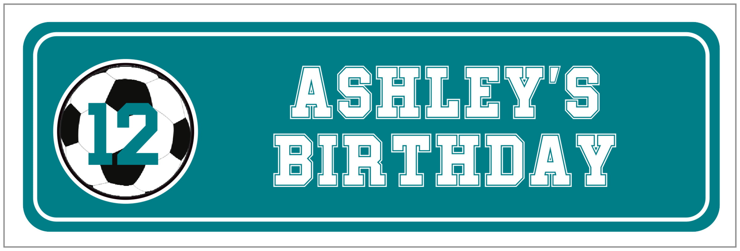 wide food/craft labels - teal & white - soccer (set of 14)