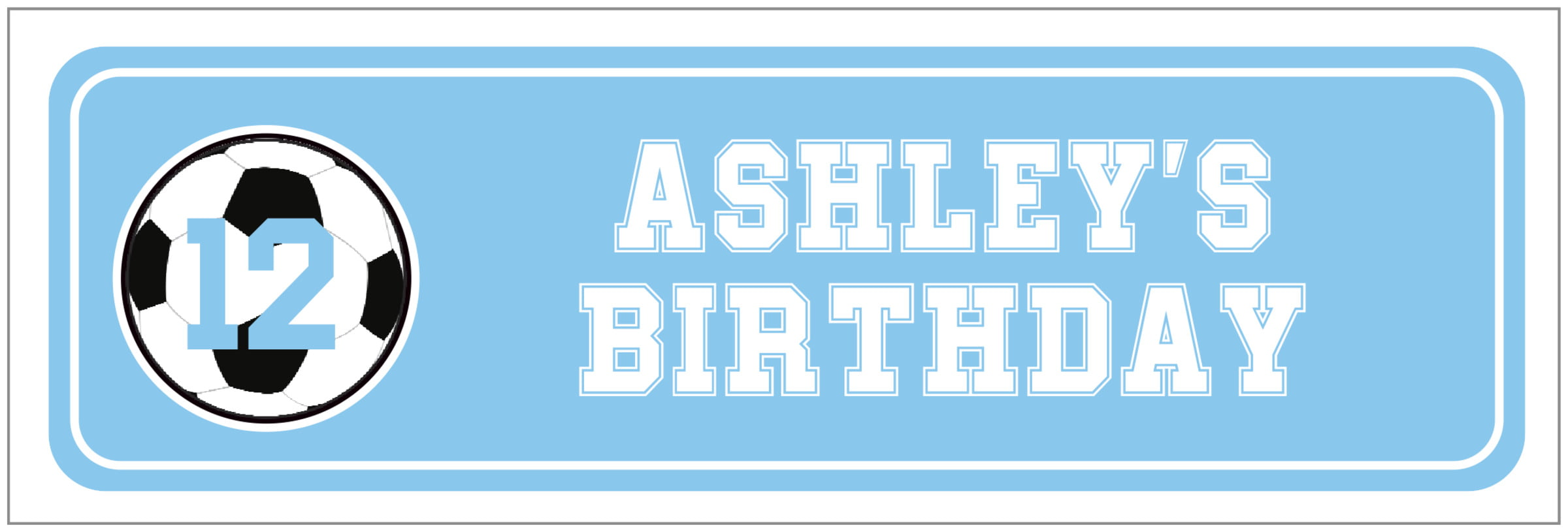 wide food/craft labels - light blue & white - soccer (set of 14)