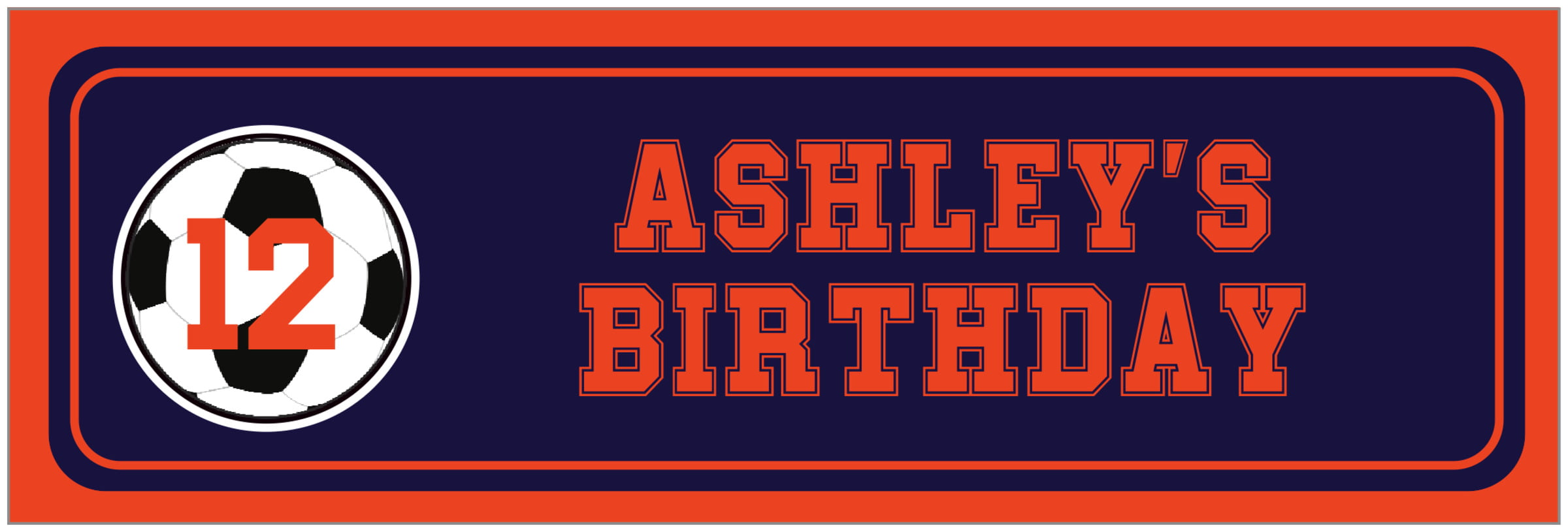 wide food/craft labels - navy & orange - soccer (set of 14)