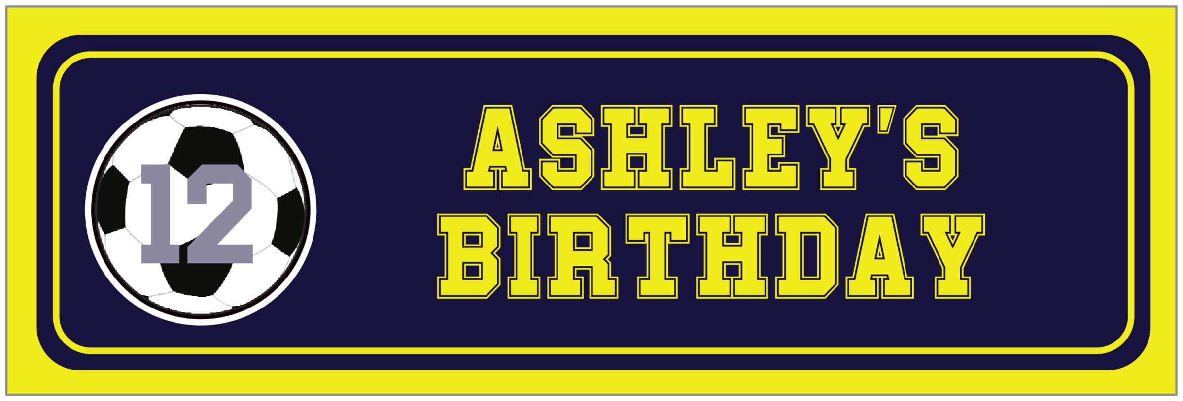 wide food/craft labels - navy & yellow - soccer (set of 14)