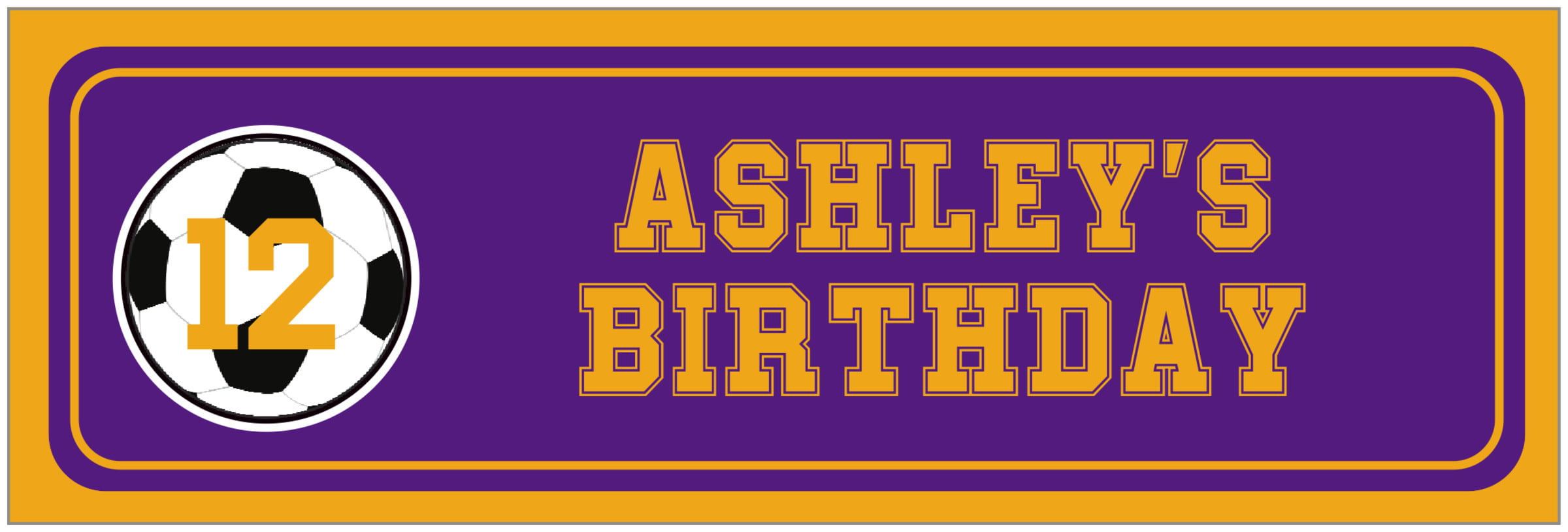 wide food/craft labels - purple & gold - soccer (set of 14)