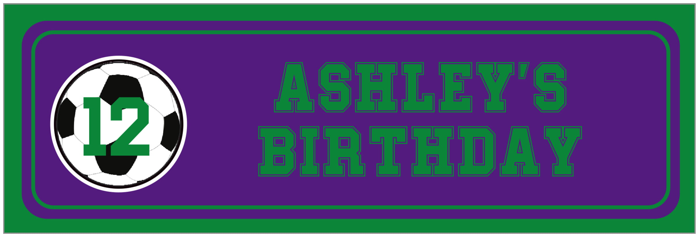 wide food/craft labels - purple & green - soccer (set of 14)