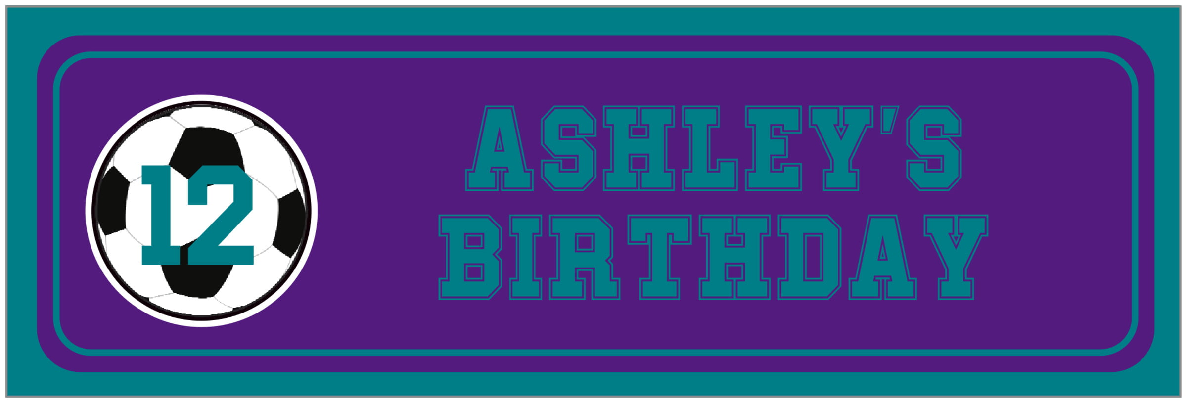 wide food/craft labels - purple & teal - soccer (set of 14)
