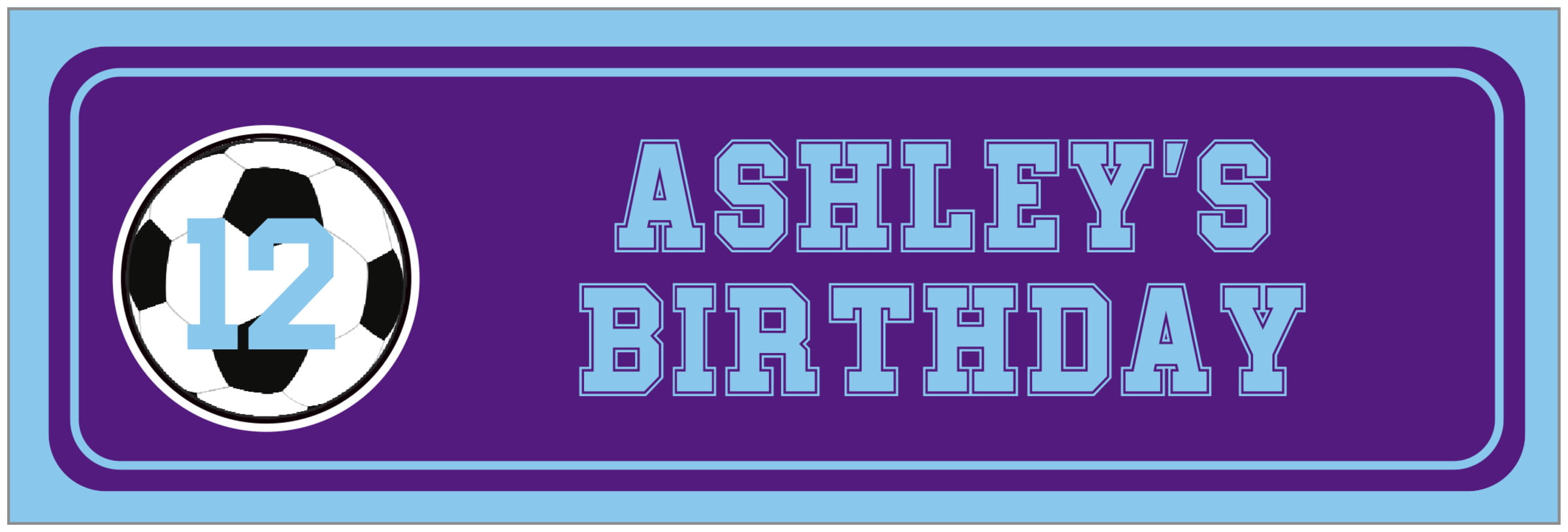 wide food/craft labels - purple & light blue - soccer (set of 14)
