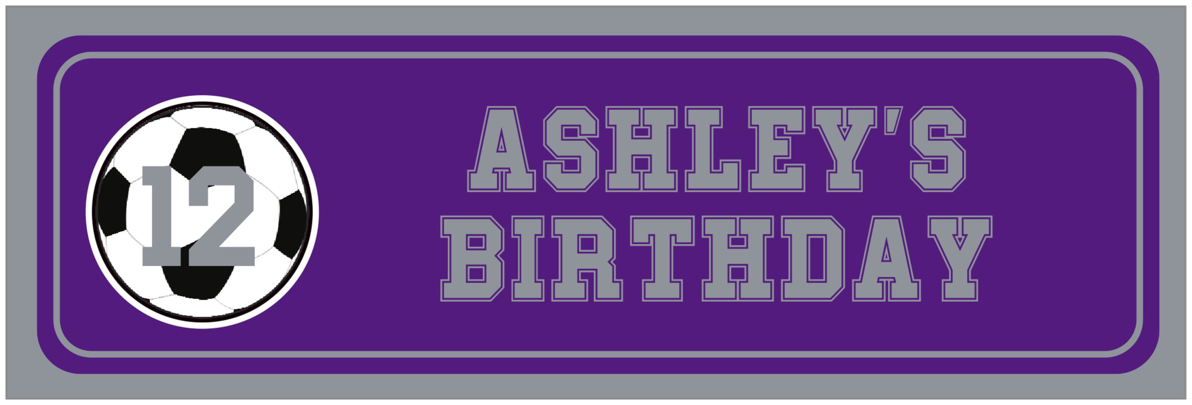 wide food/craft labels - purple & silver - soccer (set of 14)