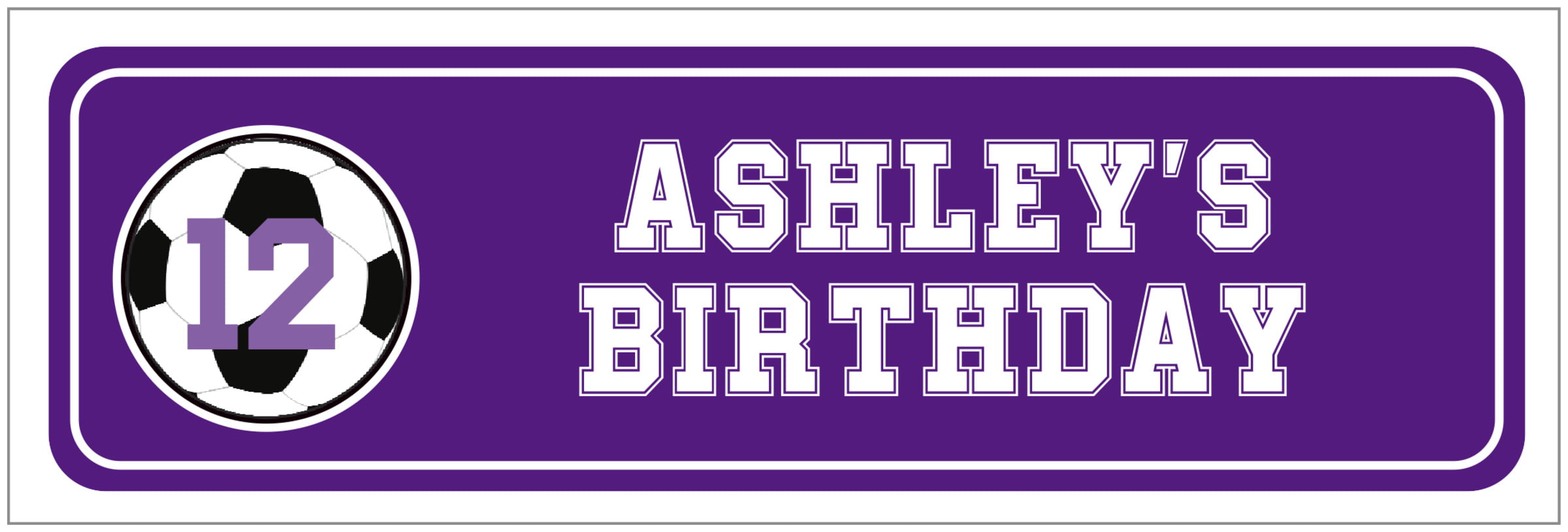 wide food/craft labels - purple & white - soccer (set of 14)