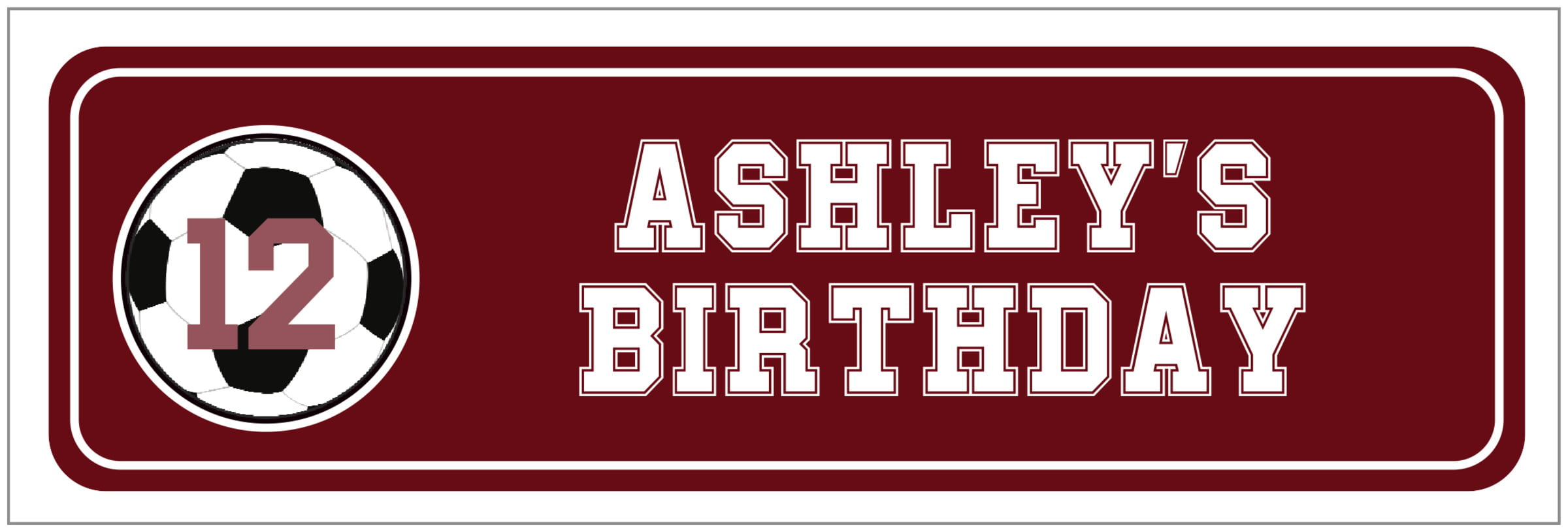 wide food/craft labels - maroon & white - soccer (set of 14)
