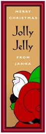 Santa Tall Label In Red & Gold
