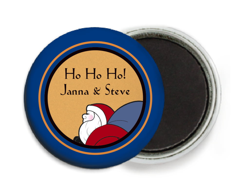 custom button magnets - blue & gold - santa (set of 6)