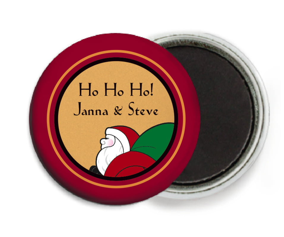 custom button magnets - red & gold - santa (set of 6)