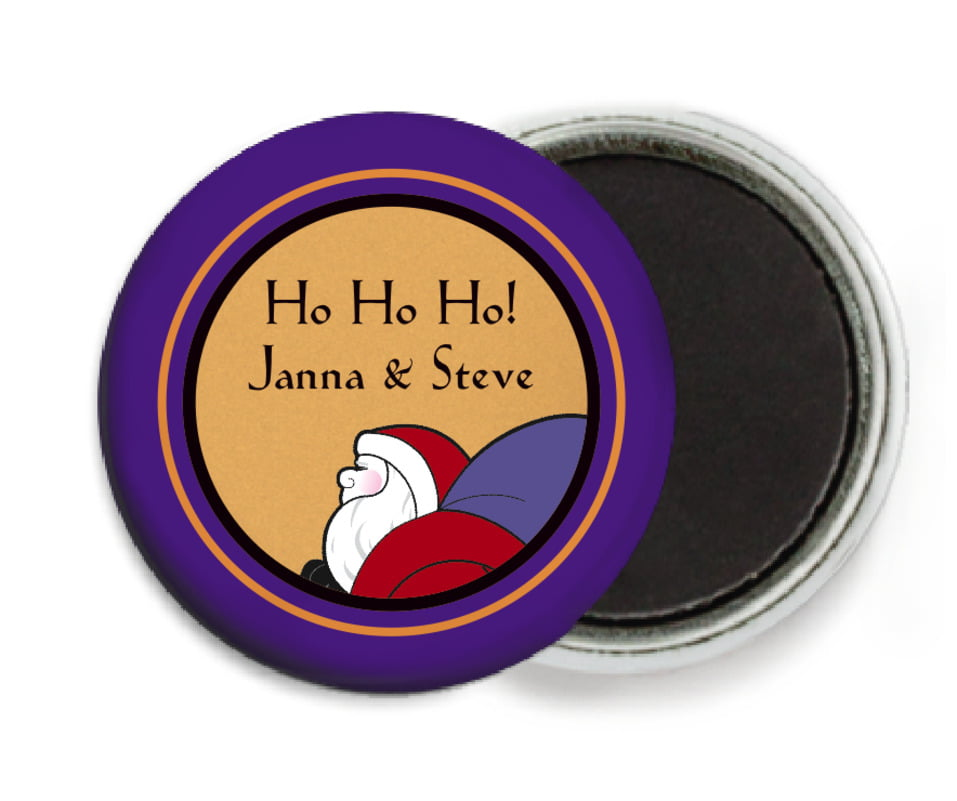 custom button magnets - purple & gold - santa (set of 6)