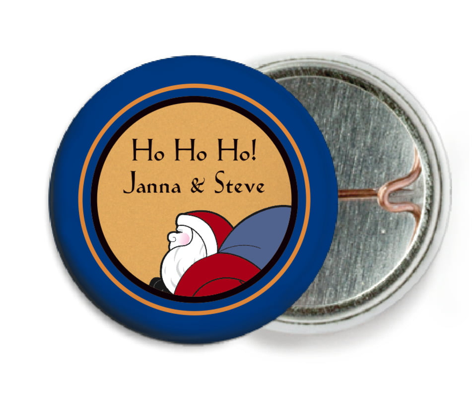 custom pin back buttons - blue & gold - santa (set of 6)