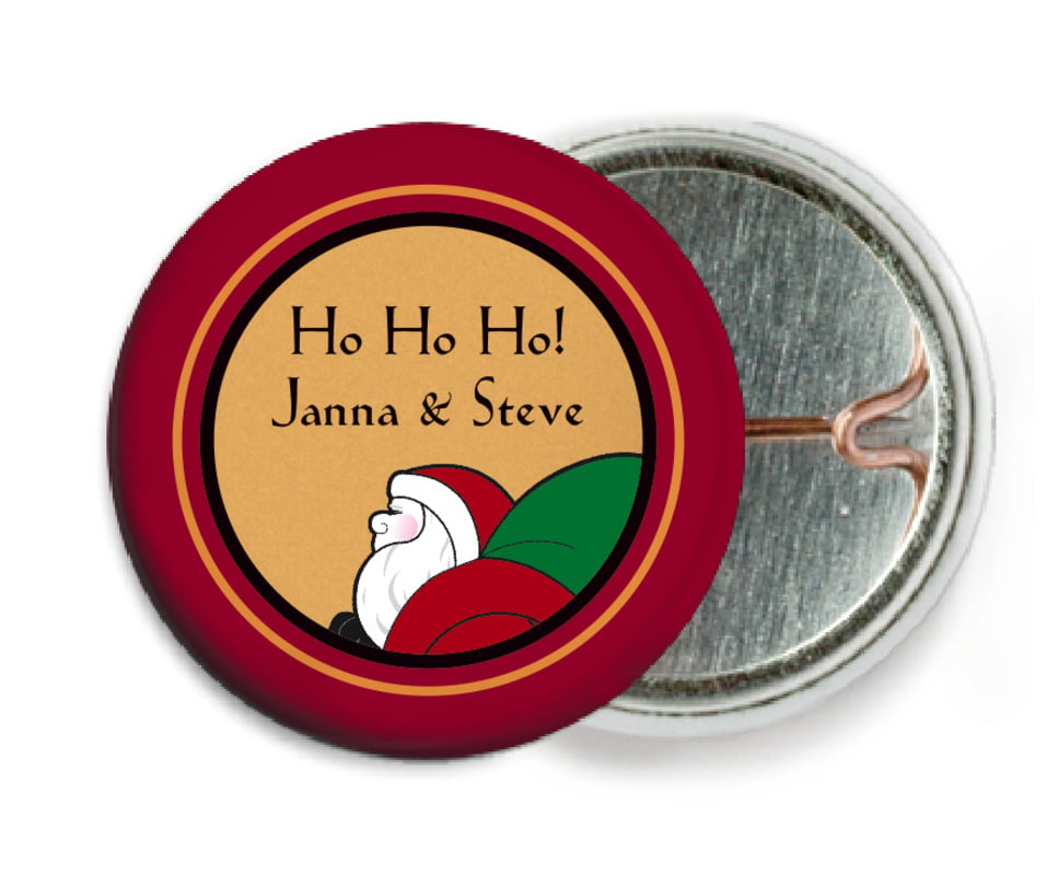 custom pin back buttons - red & gold - santa (set of 6)