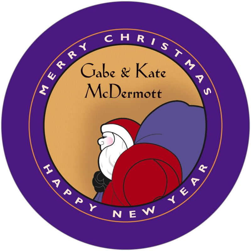 round holiday coasters - purple & gold - santa (set of 12)