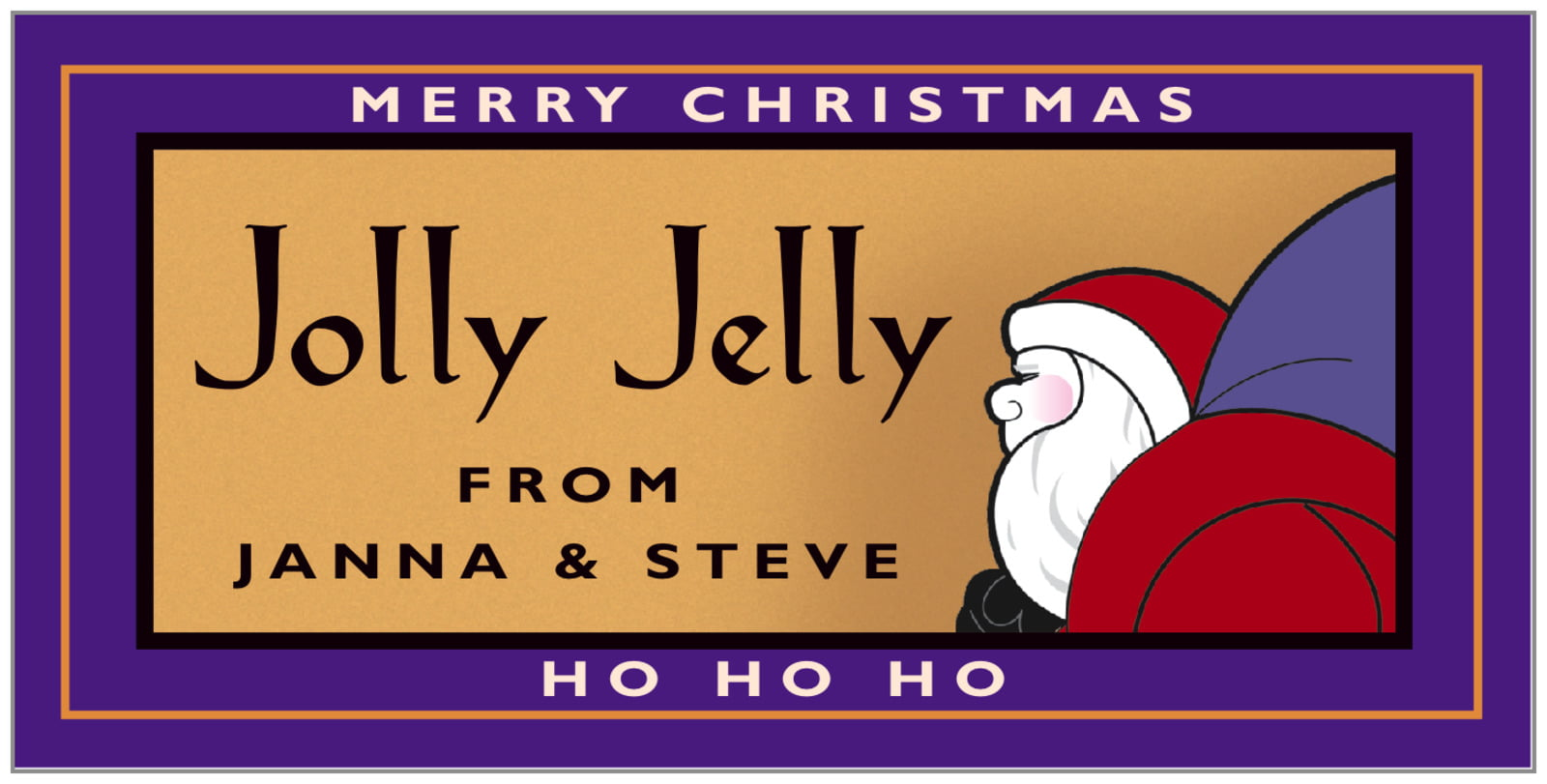 small rectangular food/craft labels - purple & gold - santa (set of 24)