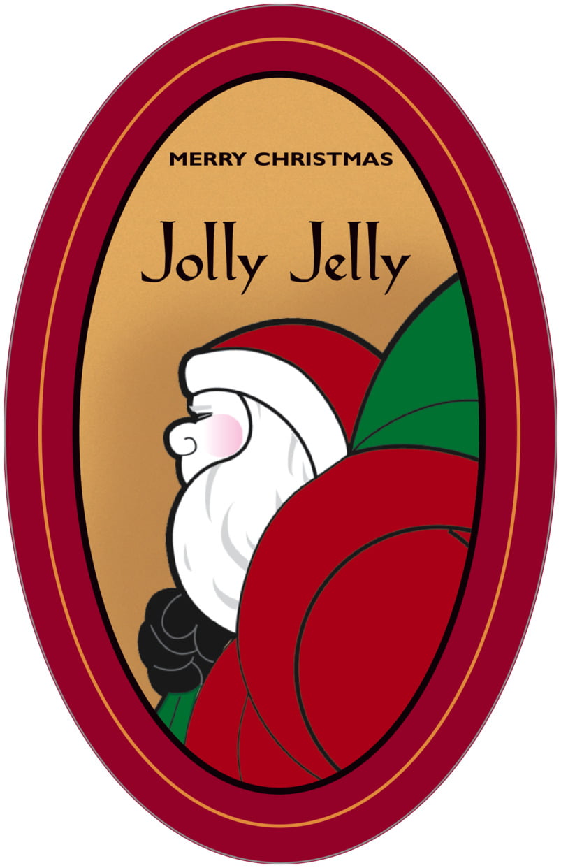 large oval food/craft labels - red & gold - santa (set of 8)