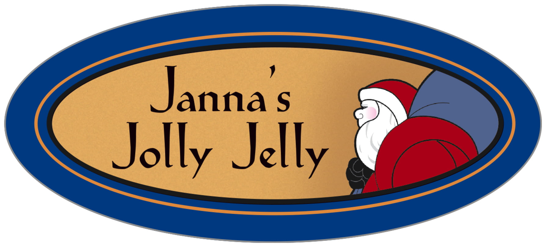 oval food/craft labels - blue & gold - santa (set of 30)