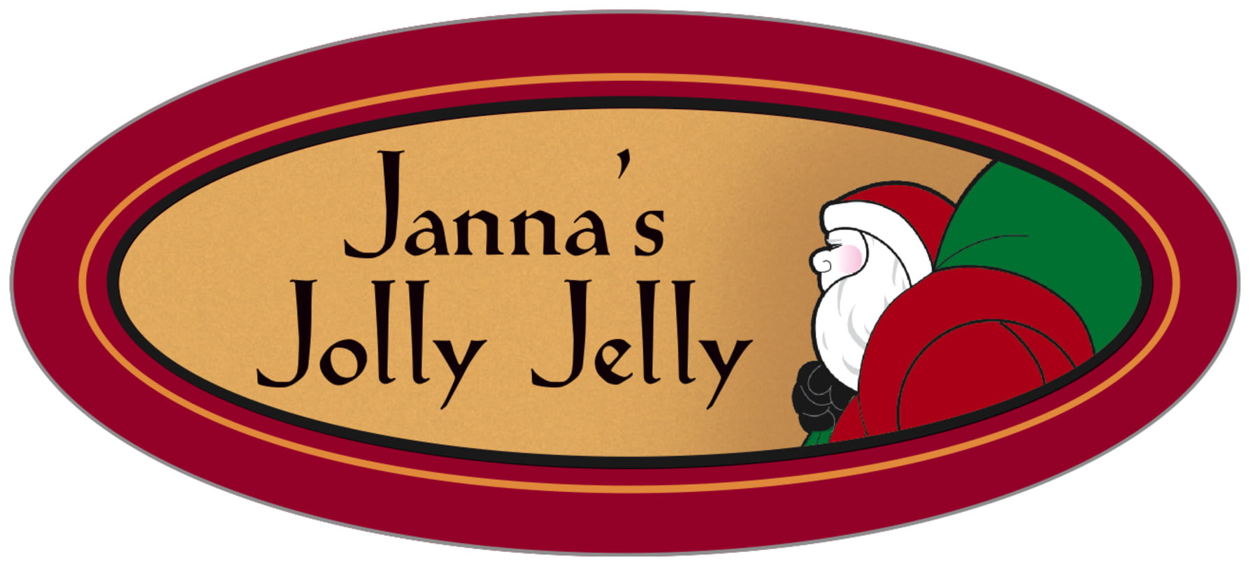 oval food/craft labels - red & gold - santa (set of 30)